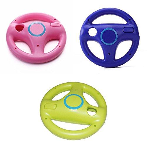 3pz Mario Kart Volante Da Corsa Telecomando Per Nintendo Wii Controller - Rosa + Blu + Verde