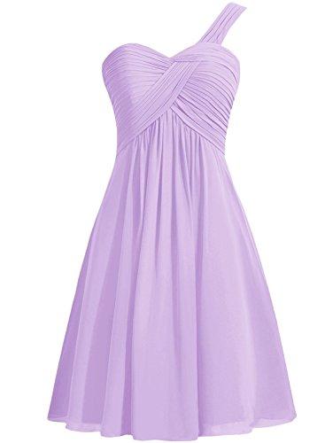 Azbro Women's One Shoulder Solid Chiffon Short Cocktail Dress Light Purple