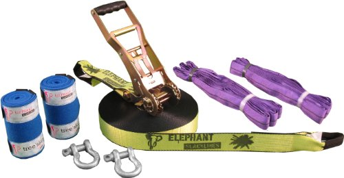 Elephant Slacklines Set Freak Flashline  25 m lang, 5 cm breit + Baumschutz