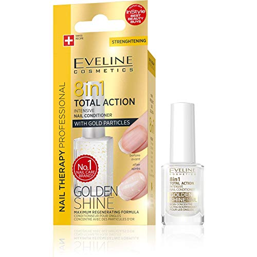 Eveline Cosmetics 8in1 Total Action Nagel Conditioner mit Goldpartikeln, 1er Pack (1 x 12 ml) -