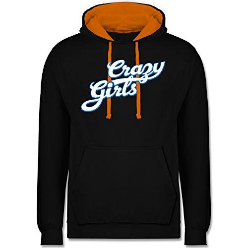 Typisch Frauen - Crazy Girls - Kontrast Hoodie Schwarz/Orange