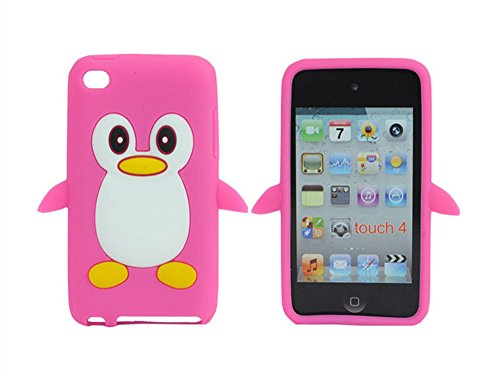 Tsmine Apple Ipod Touch 4. Generation Pinguin-Karikatur-Fall - Cute 3D Penguin Weiche Silikon-Rückseite waschbar Cover Case Schutzhülle für iPod Touch 4. Gen., Rosa -