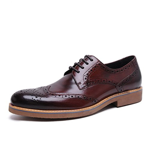GRRONG Chaussures En Cuir Pour Homme En Cuir Véritable Pointu Tenue Respirante brown