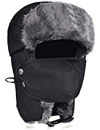 ba23210ab14c3 iTemer Unisex Winter Trooper Trapper Hat Warm Bomber Hat Russian Hunting Hat  with Ear Flap Mask