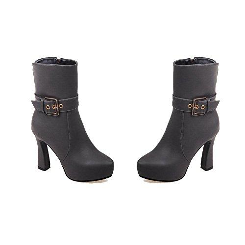 AgooLar Damen Reißverschluss Hoher Absatz Weiches Material Rein Niedrig-Spitze Stiefel Grau