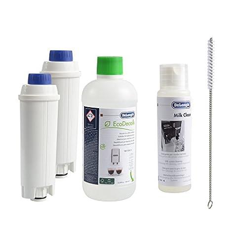 2 x DeLonghi Wasserfilter + DeLonghi Entkalker 500ml + DeLonghi Milchschaumdüsenreiniger + QUVIDO