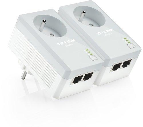 TP-Link CPL AV500 (Débit 500 Mbps), 2 Ports Fast Ethernet, Prise Intégrée Version Française, Pack de 2 CPL (TL-PA4025P KIT)