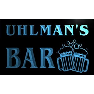 w025269-b UHLMAN Name Home Bar Pub Beer Mugs Cheers Neon Light Sign
