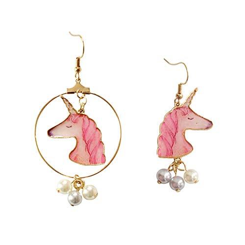 Topdo Pendientes de Mujer Lindo Unicornio Accesorios Personalidad aretes Joyería para Navidad Mujeres y niñas Elegante Regalo 1 Pieza Rosa 7.1 * 3.5cm