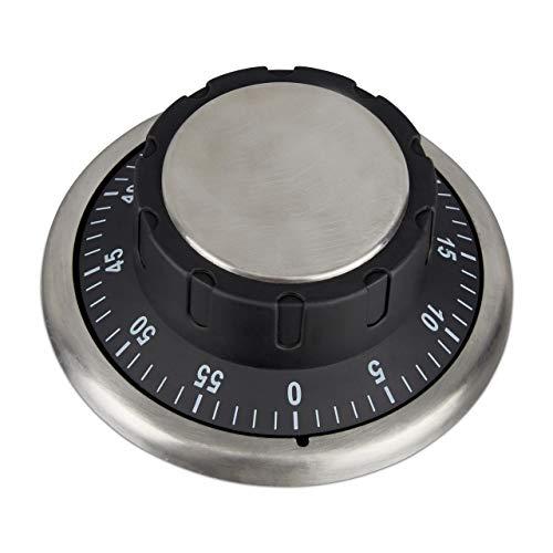 Relaxdays Küchentimer magnetisch, Tresorrad-Design, zum Aufziehen, 60 Minuten, Kurzzeitwecker mechanisch, Ø 9 cm, schwarz