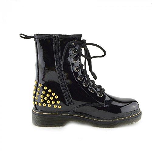 Kick scarpe da donna pizzo caviglia retro da bagagliaio da donna funky vintage fangbanger martin caviglia bagagliaio, (Black Studds), 41 EU