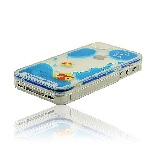 Intéressant Bleu Liquide Coque, iPhone 4 4S Coque, iPhone 4 4S Case Cover, Rubber Jaune Duck, Dur Rigide Housse de Protection pour iPhone 4 4S 4G Bleu-f