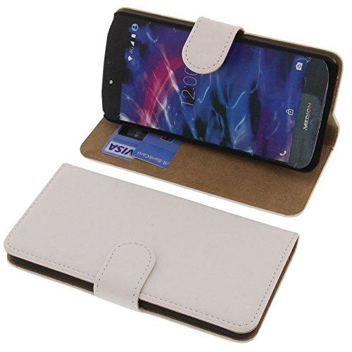 foto-kontor Tasche für MEDION Life X5020 Book Style weiß Schutz Hülle Buch