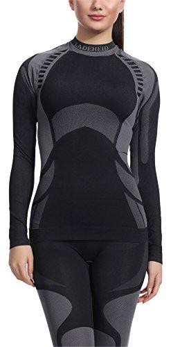 Ladeheid Damen Funktionsunterwäsche Langarm Shirt Thermoaktiv (Schwarz/Grau, XL)