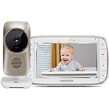 """Motorola MBP 845 Connect - Vigilabebés vídeo Wi-Fi con pantalla LCD a color de 5.0"""", modo eco, alertas para movimiento, sonido y temperatura ambiente, color blanco"""