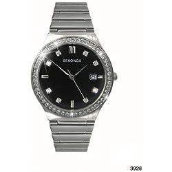Sekonda Shimmer Black Dial Crystal Stones Bezel Steel Bracelet Women's Watch 3926