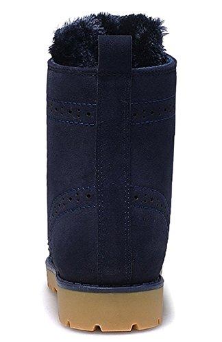 Minetom Unisex Donna Uomo Inverno Con Peluche Caldo Lace Up Neve Stivali Classici Snow Boots Martin Stivali Flat Scarpe Blu