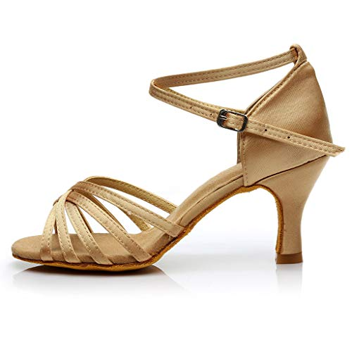 Dorical Damen Latein Tanzschuhe/Sandale mit 3/5cm Absatz/Mädchen Salsa Tanz Latein Stil Tanzschuhe/Ballsaal Tanzschuhe für Halloween Performance-Schuhe Valentinstag Schuhe (Khaki,41 EU)
