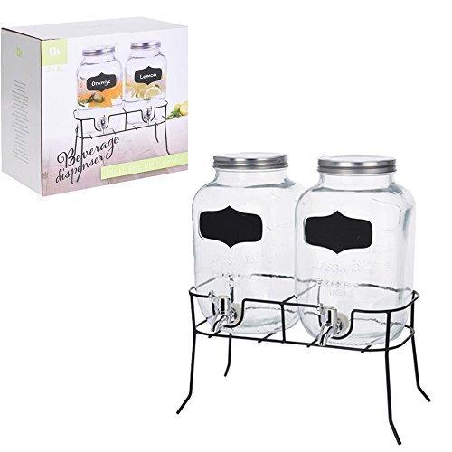 DRULINE 2er set 4L Getränke Spender Glas mit Zapfhahn und Gestell Saftspender Dispenser