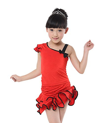 Mädchen-Kostüm-Leistungskleid Kleidung Latin Dance Kleid Rot (130CM - Latin Dance Kostüm Billig