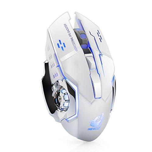 lexonelec® Wireless Maus X 8Wiederaufladbare 2,4GHz Silent Mute 7Farben LED Atmen Hintergrundbeleuchtung Tarantula anpassen Optische Ergonomische schnurlose Gaming Maus Gamer Mäuse 6Tasten für PC Desktop Laptop Computer