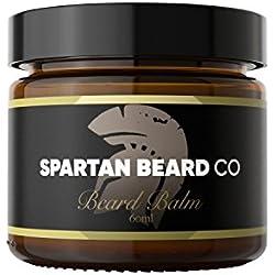 Spartan Beard Balm (60 ml) – Leave-In Conditioner für Männer, reduziert Frizz, Locken und Spliss – Macht Barthaare geschmeidig und bekämpft trockene Haut – Bienenwachs und Mandelöl