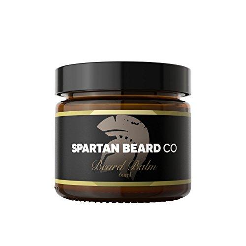 Natürliche Haar-unscented Shampoo (Spartan Beard Balm (60 ml) – Leave-In Conditioner für Männer, reduziert Frizz, Locken und Spliss – Macht Barthaare geschmeidig und bekämpft trockene Haut – Bienenwachs und Mandelöl)