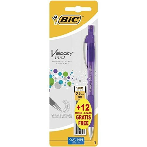 BIC Velocity Pro 0,5 mm Portaminas Automáticos con 12+1 Minas de Recambio - colores Surtidos