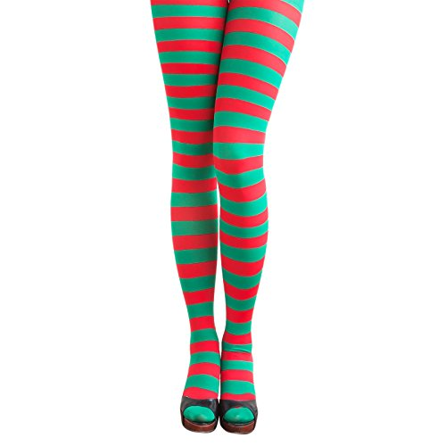 Oblique Unique® Sexy Strumpfhose -halterlos- Overknee Strümpfe - Party Kostüm Fasching Karneval (Strumpfhose Ringel - Rot Und Grün Elfe Kostüm