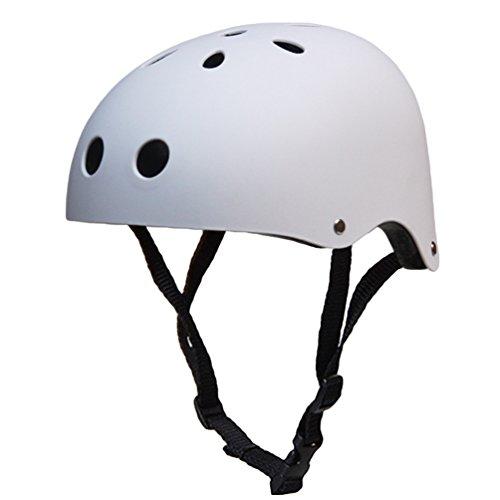 Kuncg Multi-Sport Skateboarding Skating & Radfahren Matte Oberfläche Technologie Poröse Belüftung Sicherheit Fahrradhelm Für Erwachsene L Matt Weiß