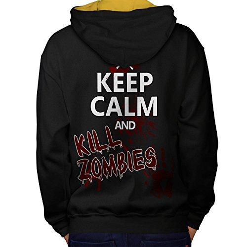 Behalten Ruhig Slogan Zombie Zombie Blut Men M Kontrast Kapuzenpullover Zurück | Wellcoda