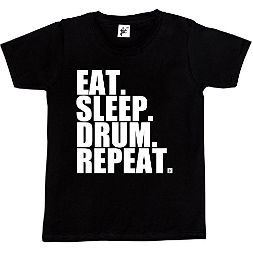Fancy A Snuggle Eat. Sleep. Drum. Repeat. Rock Drummer Heavy Metal Kids Boys / Girls T-Shirt (Size - 9-11 Year Old, Colour - Black)