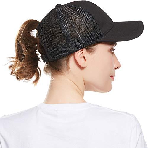WELROG Dame Baseball Kappe Hip-Hop-Hut Verstellbar Baumwolle Pferdeschwanz Cap (Schwarz #1)