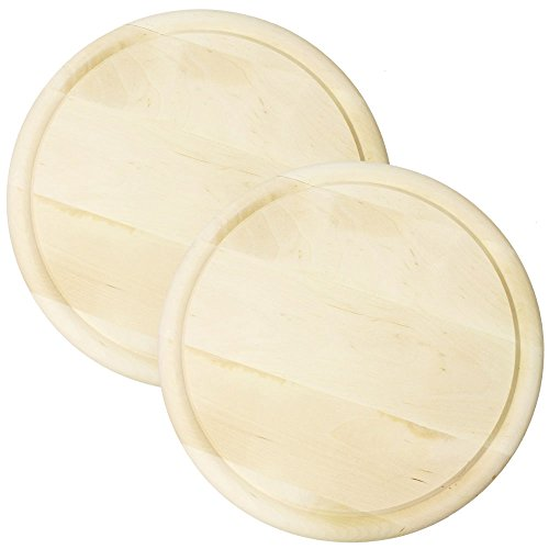 COM-FOUR® Wurst- & Käseteller aus Birkenholz 28cm - Ideal zum Schneiden, Hacken & Servieren (2 Stück)