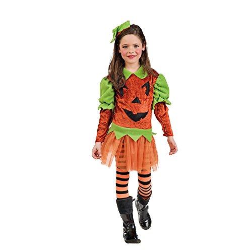 Halloween Kürbis Kostüm Kinder Kleid mit Haarband orange - 9/11 Jahre