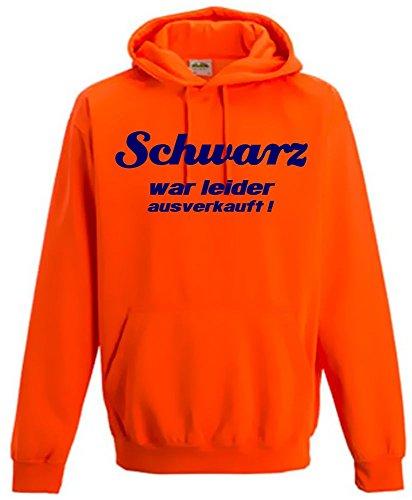 Schwarz war leider ausverkauft ! NEON SWEATSHIRT mit Kapuze HOODIE floureszierend, neonorange Gr.XL