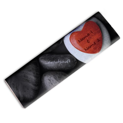 private schoki XL Schokolade für Paare mit Namen + Text – Motiv: Rotes Kieselstein-Herz – 300g