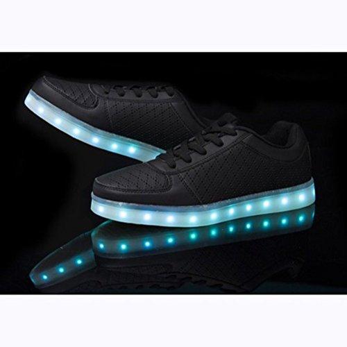 [Présents:petite serviette]JUNGLEST® 7 couleurs de recharge USB LED Light Up Chaussures Couples Luminous flash Sneakers Glow course Casual de Noir