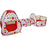 Toyshine 3-in-1 Tunnel Ball Pool Tent, Fold-able, Outdoor Tent House (Balls not Included)