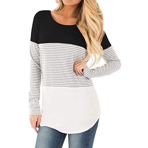JiaMeng Ladies Mom Schwangere Still-Baby Mutterschaft langärmelige gestreifte Bluse Kleidung Pullover