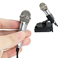 Mini Handheld Microphone, Anskp Omnidirectional Stereo Mic for Voice Recording, Chatting on iPhone, Samsung, Smartphones, Tablets, Laptops, Computers (Silver)
