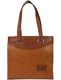 Zapatoz Women's Plain Brown Leatherite Tote Bag (Tote-L-brown)