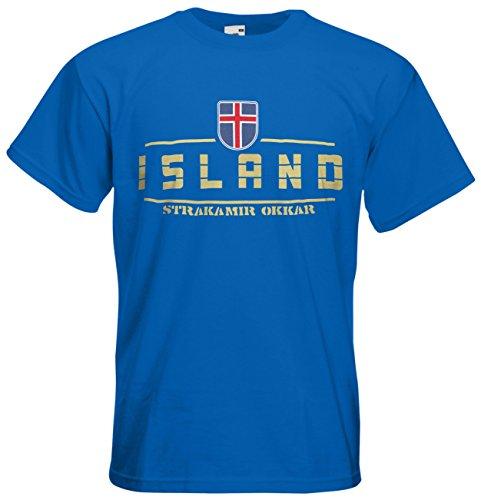 Island EM 2016 Fanshirt T-Shirt Trikot (Royalblau, L)