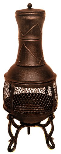 Hamble Redwood BB-CH701 39 x 89cm Heavy Duty Chiminea - Bronze