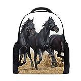 MONTOJ Rucksack/Laptoprucksack mit DREI schwarzen Pferden aus Polyester