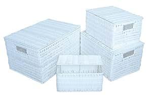 aufbewahrungskorb geflochten mit deckel farbe wei s 23x17x12 cm versch gr en lieferbar. Black Bedroom Furniture Sets. Home Design Ideas