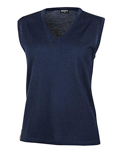 agon - Premium Damen Strick-Pullunder, extrafein, 100% Merino-Wolle, V-Ausschnitt, Total-Easy-Care Marine 44/2XL