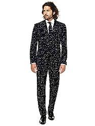 OppoSuits Science Faction Herrenanzug , besteht aus Sakko, Hose und Krawatte, schwarz, EU-48