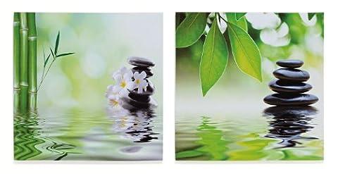 2 Leinwandbilder im Set inklusiv Schrauben - Orchideen Bambus Steingarten