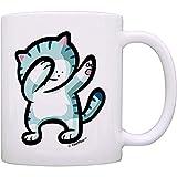 SJ Augh Keramik Teetasse 11 oz lustige personalisierte Kaffeetasse lustige Katze Becher tupfen Katze lustige Meme Dance Rettungskatze für Wasser Tee Getränke weiße Frühstück Tasse Porzellan Becher